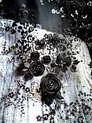 Embroidered 3D Applique Fabric Black Floral Intricate Romantic Design (DH77)