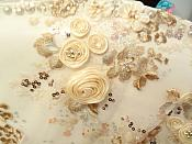 Embroidered 3D Applique Fabric Champagne Rose Gold Floral Intricate Romantic Design (DH77)