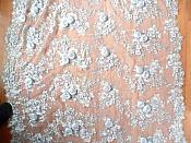 Embroidered 3D Applique Fabric Silver Floral Intricate Romantic Design (DH77)