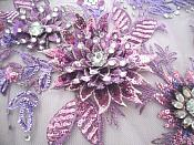 Embroidered 3D Applique Fabric Lavender Mauve Sequin Rhinestone Floral Design (DH78)