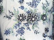 Embroidered 3D Applique Fabric Navy Blue Sequin Rhinestone Floral Design  (DH78)