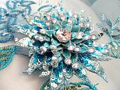 Embroidered 3D Applique Fabric Turquoise Sequin Rhinestone Floral Design (DH78)