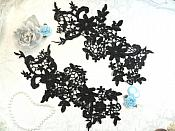 "Appliques Embroidered Lace Black Floral Venice Mirror Pair Motifs 12.5"" (DH79X)"