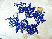 "Appliques Embroidered Lace Royal Blue Floral Venice Mirror Pair Motifs 12.5"" (DH79X)"