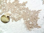 """Appliques Embroidered Lace Champagne Floral Venice Mirror Pair Motifs 12.5"""" (DH79X)"""