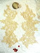 """Appliques Embroidered Lace Gold Floral Venice Mirror Pair Motifs 12.5"""" (DH79X)"""