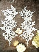 """Appliques Embroidered Lace Ivory Floral Venice Mirror Pair Motifs 12.5"""" (DH79X)"""