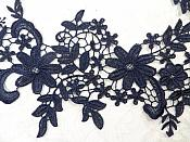 """Appliques Embroidered Lace Navy Blue Floral Venice Mirror Pair Motifs 12.5"""" (DH79X)"""