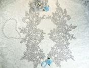 """Appliques Embroidered Lace Silver Floral Venice Mirror Pair Motifs 12.5"""" (DH79X)"""