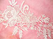 "Embroidered Lace Appliques White Romantic Rose Floral Venice Lace Mirror Pair 16"" (DH83X)"