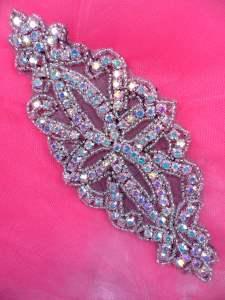 "DH8 Designer Crystal AB Glass Rhinestone Silver Beaded Black Applique 6"""