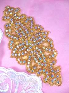 "DH8 Designer Crystal AB Glass Rhinestone Gold Beaded Applique 6"""