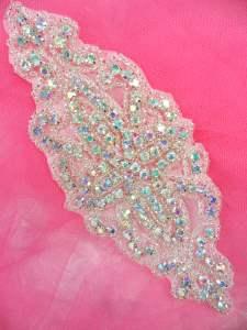"DH8 Designer Crystal AB Glass Rhinestone Silver Beaded Applique 6"""
