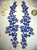 """Embroidered Lace Appliques Blue Floral Venice Lace Mirror Pair 15"""" (DH80X)"""