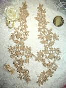"""Embroidered Lace Appliques Champagne Floral Venice Lace Mirror Pair 15"""" (DH80X)"""