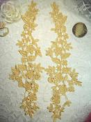 """RMDH80X REDUCED Embroidered Lace Appliques Gold Floral Venice Lace Mirror Pair 15"""""""