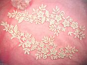 "Embroidered Lace Appliques Ivory Floral Venice Lace Mirror Pair 15"" (DH80X)"