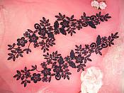 """Embroidered Lace Appliques Navy Blue Floral Venice Lace Mirror Pair 15"""" (DH80X)"""