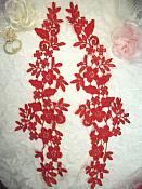 """Embroidered Lace Appliques Red Floral Venice Lace Mirror Pair 15"""" (DH80X)"""