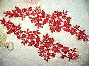 "Embroidered Lace Appliques Red Floral Venice Lace Mirror Pair 15"" (DH80X)"
