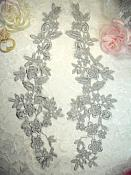 """Embroidered Lace Appliques Silver Floral Venice Lace Mirror Pair 15"""" (DH80X)"""