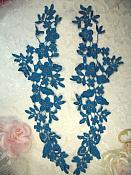 """Embroidered Lace Appliques Turquoise Floral Venice Lace Mirror Pair 15"""" (DH80X)"""
