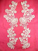 """Embroidered Lace Appliques White Floral Venice Lace Mirror Pair 14"""" (DH81X)"""