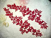 """Embroidered Lace Appliques Wine Floral Venice Lace Mirror Pair 15"""" (DH80X)"""
