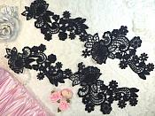 "Embroidered Lace Appliques Navy Floral Venice Lace Mirror Pair 14"" (DH81X)"