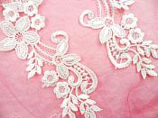 """Embroidered Lace Appliques Ivory Floral Venice Lace Mirror Pair 9.5"""" (DH86X)"""