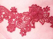 "Embroidered Lace Appliques Wine Floral Venice Lace Mirror Pair 14"" (DH81X)"