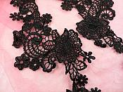 "Embroidered Lace Appliques Black Floral Venice Lace Mirror Pair 14"" (DH81X)"