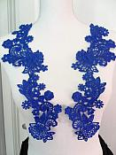 "Embroidered Lace Appliques Blue Floral Venice Lace Mirror Pair 14"" (DH81X)"