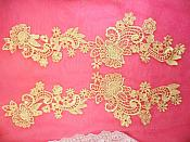 "Embroidered Lace Appliques Gold Floral Venice Lace Mirror Pair 14"" (DH81X)"