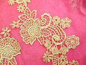 """Embroidered Lace Appliques Gold Floral Venice Lace Mirror Pair 14"""" (DH81X)"""