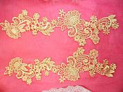 """DH81X Embroidered Lace Appliques Red Floral Venice Lace Mirror Pair 14/"""""""
