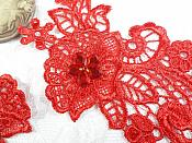 "Embroidered Lace Appliques Red Floral Venice Lace Mirror Pair 14"" (DH81X)"