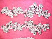 "Embroidered Lace Appliques Silver Floral Venice Lace Mirror Pair 14"" (DH81X)"
