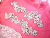 """Embroidered Lace Appliques Silver Floral Venice Lace Mirror Pair 14"""" (DH81X)"""