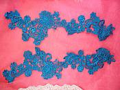 "Embroidered Lace Appliques Turquoise Floral Venice Lace Mirror Pair 14"" (DH81X)"