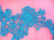 """Embroidered Lace Appliques Turquoise Floral Venice Lace Mirror Pair 14"""" (DH81X)"""