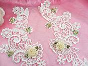 "Venice Lace Appliques Ivory Floral Embroidered Mirror Pair Flower Sewing Crafts Motifs 13.5"" (DH81X)"