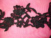 """Embroidered Lace Appliques Black Floral Venice Lace Mirror Pair 14"""" (DH82X)"""