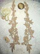 """Embroidered Lace Appliques Champagne Floral Venice Lace Mirror Pair 14"""" (DH82X)"""