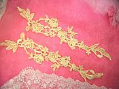 "Embroidered Lace Appliques Gold Floral Venice Lace Mirror Pair 14"" (DH82X)"