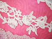 """Embroidered Lace Appliques Ivory Floral Venice Lace Mirror Pair 14"""" (DH82X)"""