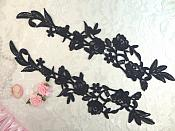 """Embroidered Lace Appliques Navy Floral Venice Lace Mirror Pair 14"""" (DH82X)"""