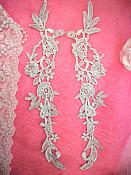 """Embroidered Lace Appliques Silver Floral Venice Lace Mirror Pair 14"""" (DH82X)"""