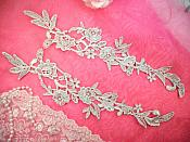 "Embroidered Lace Appliques Silver Floral Venice Lace Mirror Pair 14"" (DH82X)"
