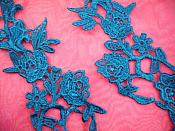"""Embroidered Lace Appliques Turquoise Floral Venice Lace Mirror Pair 14"""" (DH82X)"""